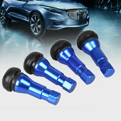 4x Bolt In Chrome Tubeless Metal Rubber Car Wheel Tyre Valve Stem Dust Cap Blue