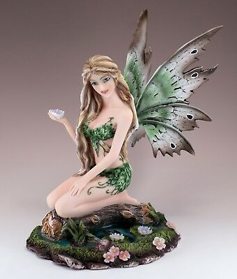 """Green Fairy In Pond With Water Lily Flower Figurine Statue 8.75"""" High New In Box"""