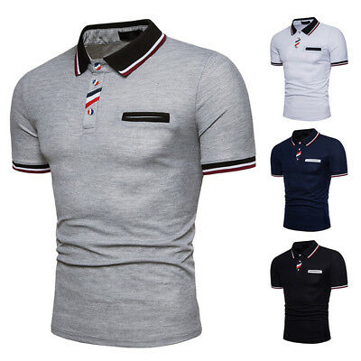 Mens Leisure Polo Shirts Button-Collar Color Stitching Short Sleeve Casual Tops