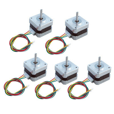 5 PCS NEMA 17 Stepper Motors 0.4A Draw 1.8°Angle for CNC Mill Robot Lathe 26Ncm