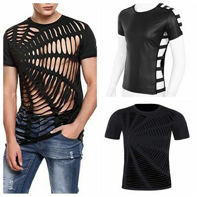 Mens Hollow T-shirts Clubwear Costume Short Sleeves Hip Hop Hipster Top Shirts