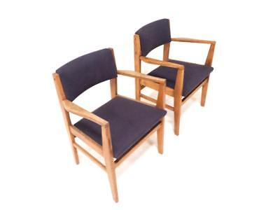 Pair Solid Oak Fireside Chairs 1950s Mid Century Danish Modern Vintage Retro