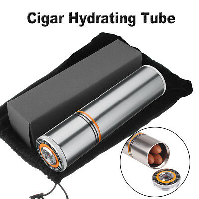 Cylindrical Travel Cigar Hydrating Tube Humidor w/ Hygrometer,Bag For COHIBA