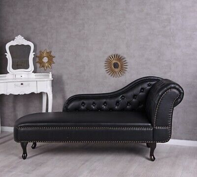 Chaiselongue Chesterfield Sofa Schwarz Couch Liege Daybed Ottomane