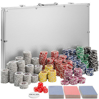 Pokerkoffer Pokerset 1000 Chips Laser Pokerchips Poker Set Jetons Alu Koffer Sil