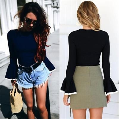 Fashion Women Bell Sleeve Crew Neck Crop Top Blouse Side Top Shirt Tee LG