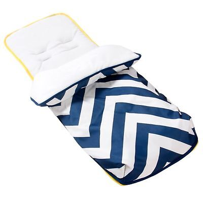 New My Babiie Blue Chevron Pushchair Footmuff Baby Cosytoes Pushchair Liner