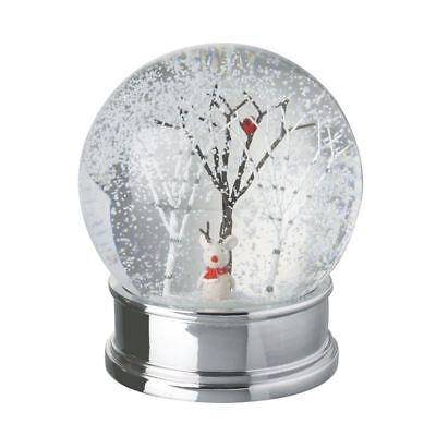 Snow Globe with Festive Mouse In Trees Snow Scene Silver Base