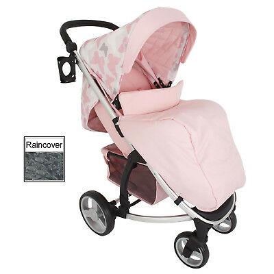 New My Babiie Pink Butterflies Mb200 Pushchair Compact Stroller With Raincover