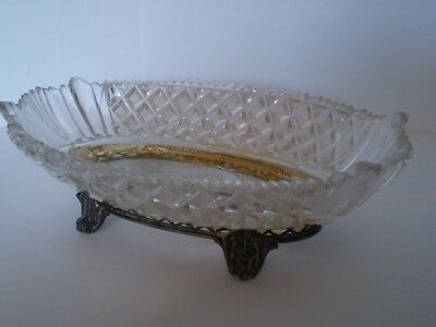 Stunning Antique Solid Silver And Glass Bon Bon Dish