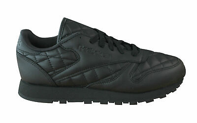 530fffb4b5de4 Reebok CL Classic Leather Quilted Womens Trainers Lace Up Black AR1263 U60