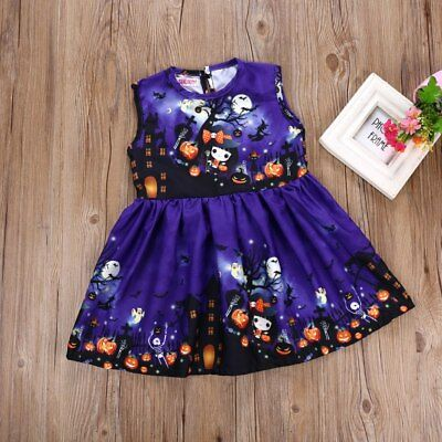 S-316 Toddler Girl  Purple Halloween Sleeveless Dress Size 2-6T (Free Shipping)
