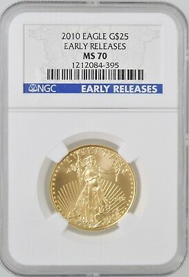 2010 American Gold Eagle $25 1/2 oz NGC MS70 Early Release Investment U.S. Gold