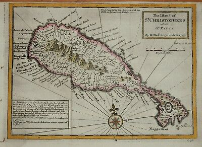 West Indies - The Island Of St. Christopher's Alias St. Kitts By H. Moll, 1729.