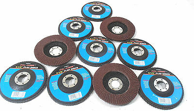 "Lot Of (10) 4 1/2"" Inch X 7/8""  Flap 60 Grit Wheel Sanding Disc Aluminum Oxide"