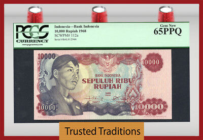 "TT PK 112a 1968 INDONESIA 10000 RUPIAH ""GENERAL SUDIRMAN"" PCGS 65 PPQ GEM NEW"