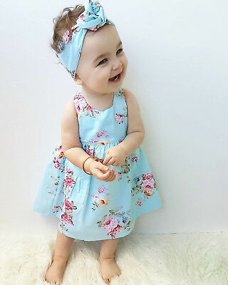 S-389 Girl  Light Blue Floral Cotton Dress Headband 2pc Size 0-4 (Free Shipping)