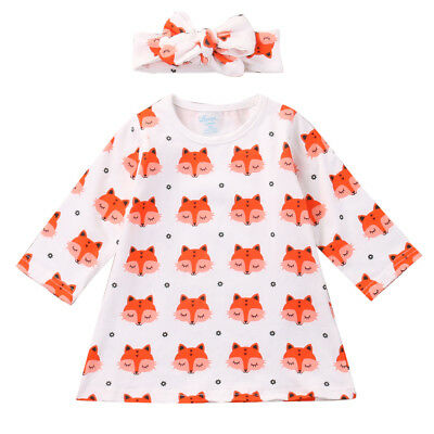 S-143 Baby Girl's  Cotton Fox Shirt w/ Headband Size 0-18M (Free Shipping)