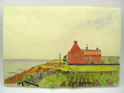 Antique early 20th century English School watercolour painting coastal landscape