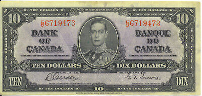 Bank of Canada 1937 $10 Ten Dollars Gordon-Towers C/D Prefix VF King George VI