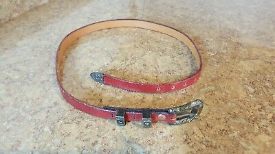 Don Ricardo 925 Sterling Silver Belt Buckle w/ Red Leather Belt Free Shipping