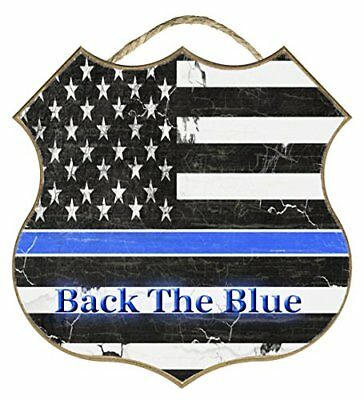 """Shield Back The Blue Flag Thin Blue Line Police Cop Distressed Sign 10"""""""