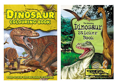 Set of 2 Dinosaur Sticker Book and Colouring Book Set Colouring Activity