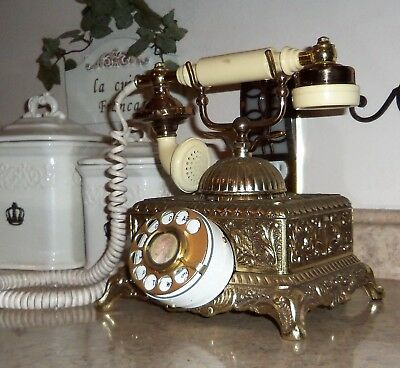 Vintage FRENCH VICTORIAN STYLE GOLD/BRASS FINISH Rotary Dial Telephone