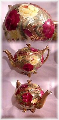 Antique Hand Painted Japanese Nippon Fancy Footed Teapot Roses Beaded Gold