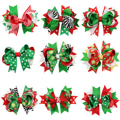 Christmas Red Green Hair Bow Baby Kids Girls Hair Clip Bowknot Hair Accessories