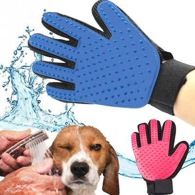 Pet Dog Cat Bath Cleaning Brush Glove Massage Hair Fur Removal Grooming Groomer