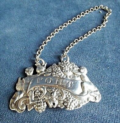SUPERB ~ SOLID SILVER ~ GEORGE III ~ PORT Decanter LABEL ~ 1807 by Thomas Hobbs