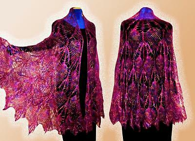 Beautiful Uzbek Handmade & Homemade Natural Woolen Shawl Scarf Poncho T885