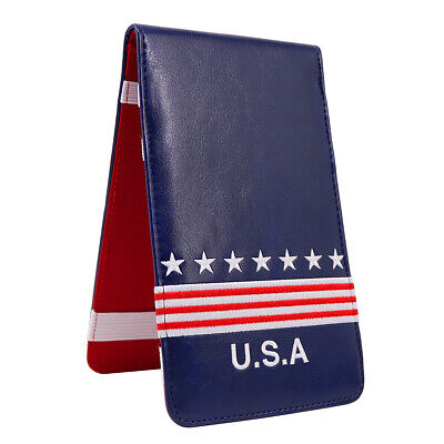 Craftsman Uncle Sam PU Leather Golf Scorecard /Yardage Book Holder Cover USA New