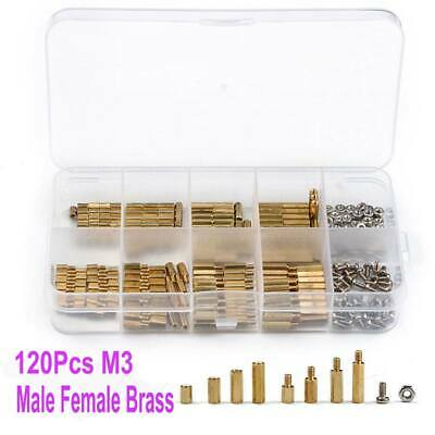 120Pcs/pack M3 Brass Male Female Standoff Spacer PCB Hex Screws Bolts Nuts Set