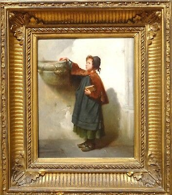Fine 19th Century French Girl Sunday Church Holy Water Font Antique Oil Painting
