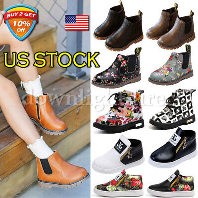 Boys Girls Kids Leather Ankle Boots Winter Flat Toddler Martin Shoes Size USA