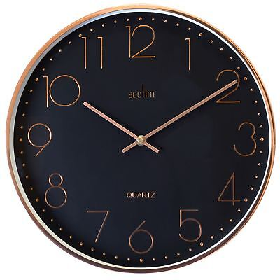 Thea Black Dial & Copper Effect Brushed Metal Wall Clock 35cm by Acctim