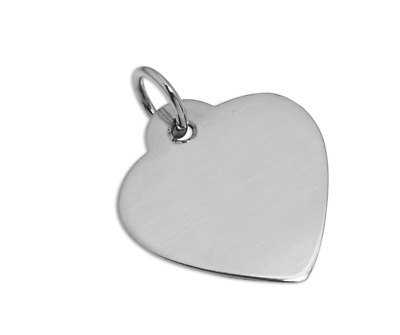 Hallmarked Large Sterling Silver Heart Tag  / Name Tag / Engravable