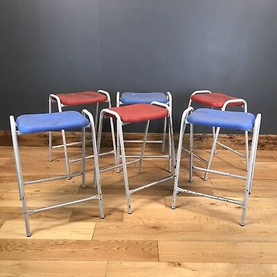 6 Vintage Retro Old School Science Lab Art Room Stacking Stools Industrial Chic