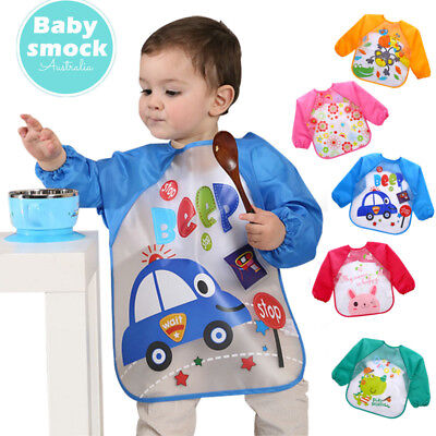 New Long Sleeve Baby Kids Bibs Bib Apron Waterproof Art Smock Feeding Toddler ZX