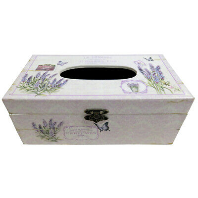 Shabby Chic Lavender & Floral Print Box, Suitable for Storing Napkins & Tissues