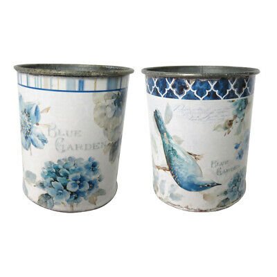 Shabby Chic Set of 2 Painted Tin Cans, Featuring a Bird and Floral Design
