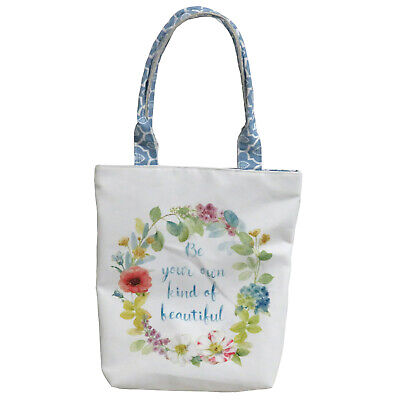 Everyday Canvas Tote Bag, Featuring Inspirational Quote & Floral Designs