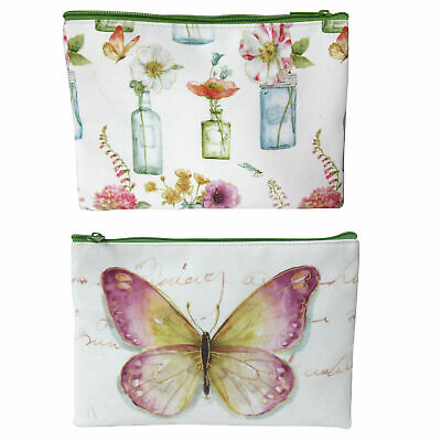 Set of 2 Washbags, Suitable for Toiletries, Featuring Butterfly & Floral Designs