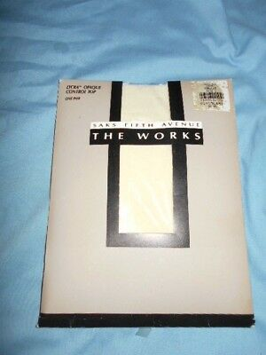 """Lowered Price SAKS FIFTH AVE """"the works"""" pantyhose CONTROL TOP size C VANILLA"""