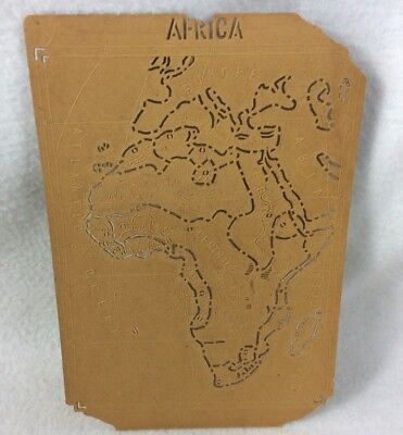 Pre-1845 Africa Continental Map Stencil Vintage School Geography Teacher Antique