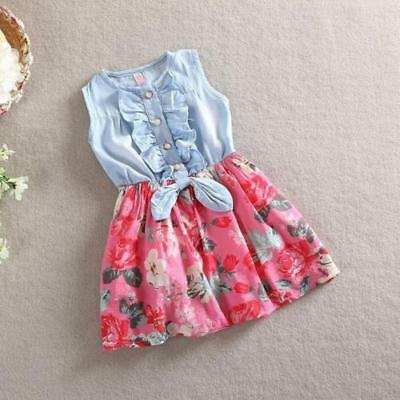 Girl's Denim Flower Patchwork Casual Dress Size 1-7Y (Red) (Free Shipping)