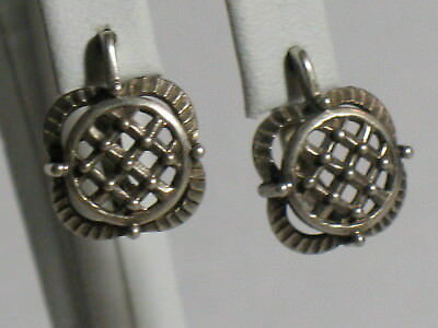 Antique Russian Sterling 925 Silver Ag Earrings Soviet USSR Big vtg Grid Cute Ol