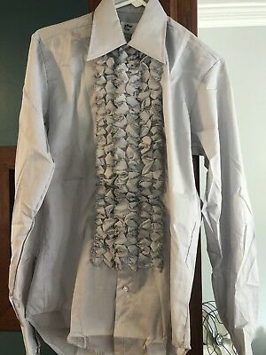 NEW Vintage Tuxedo Ruffle Prom After Six Men's Shirt Small S Grey Costume Dress